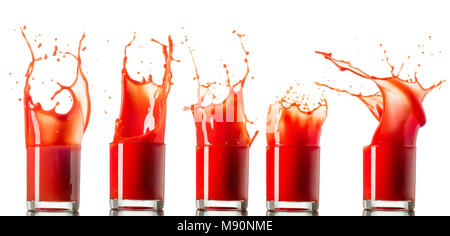 Set made of 5 Tomato juice in glass splash making amazing waves and dropsisolated on white background. - Stock Photo