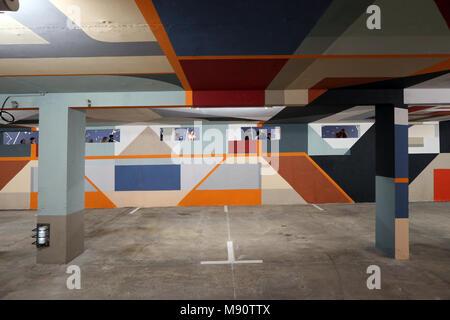 2 KM 3 Saint-Gervais Mont-Blanc contempory art platform. Street art.  Work realized by french artist Wiz. - Stock Photo