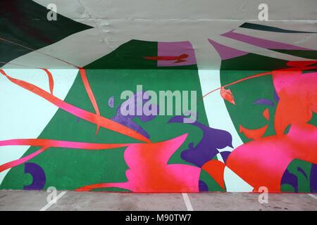 2 KM 3 Saint-Gervais Mont-Blanc contempory art platform. Street art.  Work realized by french artist Jaw. - Stock Photo