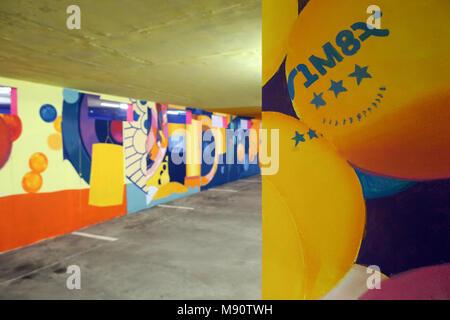2 KM 3 Saint-Gervais Mont-Blanc contempory art platform. Street art.  Work realized by french artist Velvet. - Stock Photo