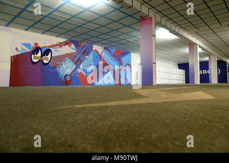 2 KM 3 Saint-Gervais Mont-Blanc contempory art platform. Street art. Work realized by french artist Zoer. - Stock Photo