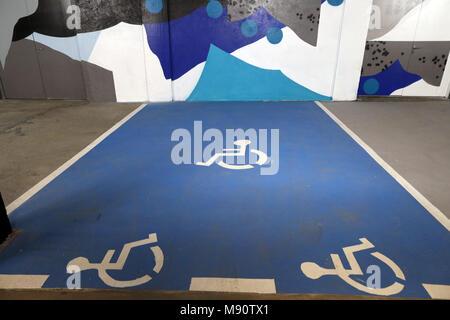 2 KM 3 Saint-Gervais Mont-Blanc contempory art platform. Street art. - Stock Photo