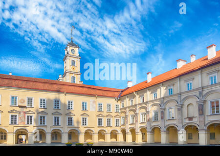 Vilnius University Courtyard and Observatory tower. Vilnius, Lithuania - Stock Photo