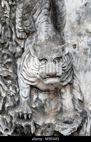 The Temple of Literature is Confucian temple which was formerly a center of learning in Hanoi.  Tiger.   Hanoi. Vietnam. - Stock Photo
