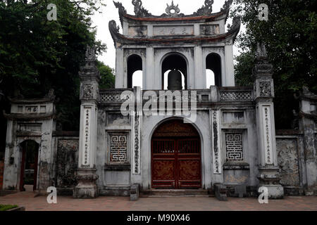 The Temple of Literature is Confucian temple which was formerly a center of learning in Hanoi.  Entrance gate.  Hanoi. Vietnam. - Stock Photo