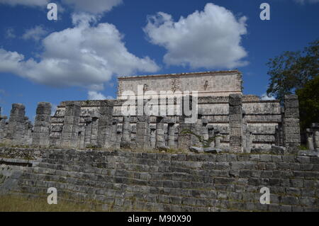 Temple of the warriors at Chichen Itza, Mexico - Stock Photo