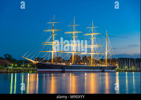 View over the river Trave toward the four-masted sailing ship Passat, Travemuende, Baltic Sea, Schleswig-Holstein, Germany, Europe - Stock Photo
