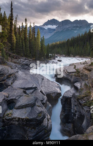 Mistaya Canyon off the Icefields Parkway in the Canadian Rockies, Alberta, Canada.  Autumn (September) 2017. - Stock Photo
