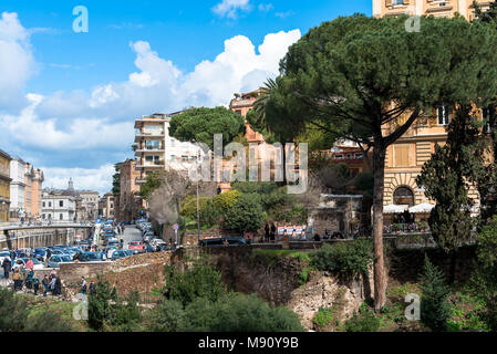 ROME, ITALY, MARCH 07, 2018: Horizontal picture of amazing view of trees and buildings of Rome from the Coliseum, Italy - Stock Photo