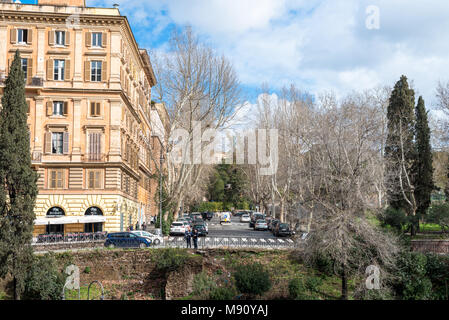 ROME, ITALY, MARCH 07, 2018: Horizontal picture of amazing view of buildings and streets of Rome from the Coliseum, Italy - Stock Photo