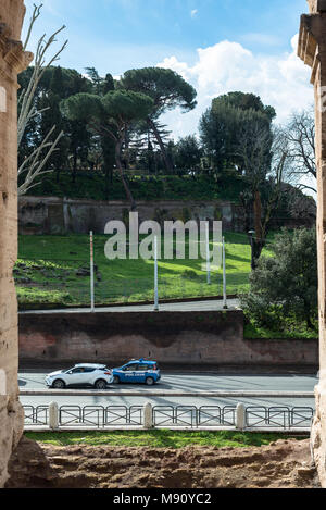 ROME, ITALY, MARCH 07, 2018: Vertical picture of amazing view from the Coliseum in Rome, Italy - Stock Photo