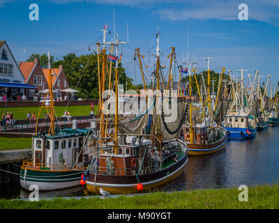 Ships in Greetsiel Old Harbour, Germany - Stock Photo