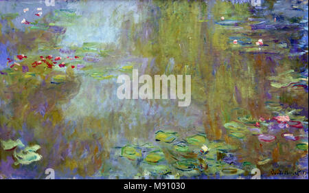Les nymphéas à Giverny - The water lilies in Giverny 1917   Claude MONET, 1840 - 1926, France, French, - Stock Photo