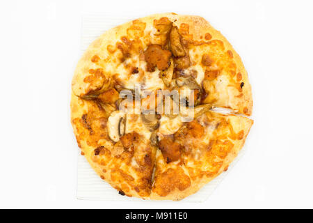 Cost-up  Pizza super deluxe box set isolated on white background. It copy space and selection focus. - Stock Photo