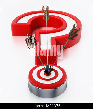 Arrows hit on target forming a question mark. 3D illustration. - Stock Photo