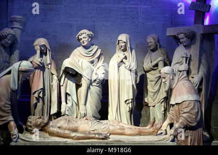 St Nicholas Cathedral.  Chapel of St Sepulchre. The burial of Christ.  Fribourg. Switzerland. - Stock Photo