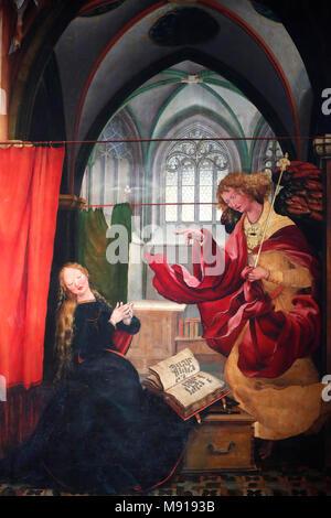 Unterlinden Museum.  The Isenheim Altarpiece, Nikolaus Hagenauer and Matthias GrŸnewald, in 1512Ð1516. The Annunciation. Colmar. France. - Stock Photo