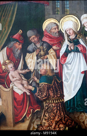 Unterlinden Museum.  Circumcision of Christ. Detail. Oil on wood panel. 16 th century.  Colmar. France. - Stock Photo