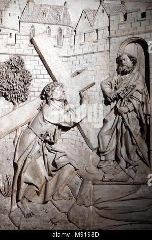 Saint-Pierre le Vieux Catholic Church.  The Crucifixion of Saint Peter. Strasbourg. France. - Stock Photo