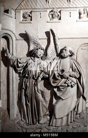 Saint-Pierre le Vieux Catholic Church.  The Liberation of St. Peter from prison by an angel.  Strasbourg. France. - Stock Photo