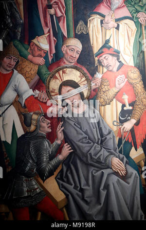 Saint-Pierre le Vieux Catholic Church.  Christ in his Passion.  Jesus is condemned by the Sanhedrin. Painting by Henri Lutzelman 15 th century.  Stras - Stock Photo