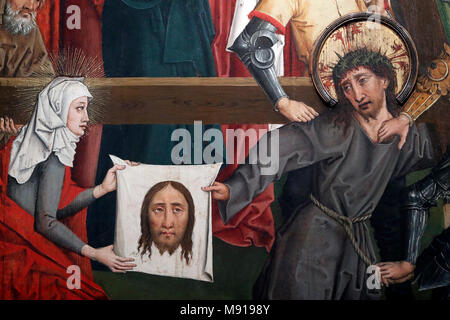 Saint-Pierre le Vieux Catholic Church.  Christ in his Passion.  The Veil of Veronica.  Painting by Henri Lutzelman 15 th century.  Strasbourg. France. - Stock Photo