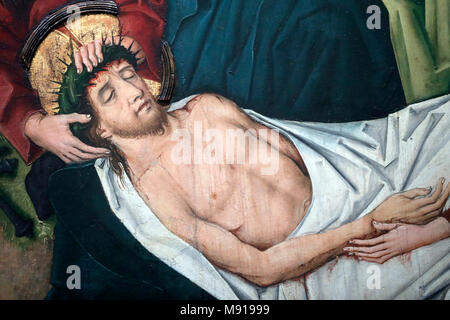 Saint-Pierre le Vieux Catholic Church.  Christ in his Passion.  Jesus is placed in the tomb. Painting by Henri Lutzelman 15 th century.  Strasbourg. F - Stock Photo