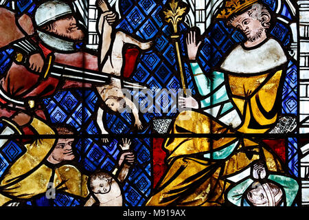 Our Lady of Strasbourg Cathedral. Stained glass window.  The Massacre of the Innocents. 14 th century.  Strasbourg. France. - Stock Photo