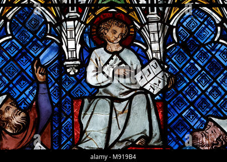 Our Lady of Strasbourg Cathedral. Stained glass window. Jesus and the doctors of the Law. 14 th century.  Strasbourg. France. - Stock Photo