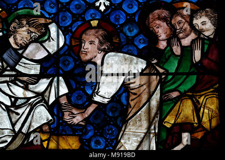 Our Lady of Strasbourg Cathedral. Stained glass window.  Christ Washing the Feet of the Apostles. 14 th century.  Strasbourg. France. - Stock Photo
