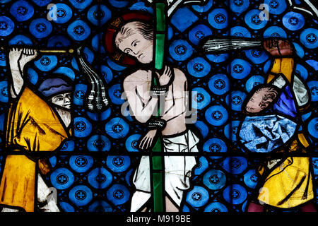 Our Lady of Strasbourg Cathedral. Stained glass window. Christ in his passion. The flagellation.  14 th century.  Strasbourg. France. - Stock Photo