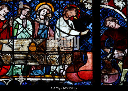 Our Lady of Strasbourg Cathedral. Stained glass window. The transformation of water into wine at the Marriage at Cana.  14 th century.  Strasbourg. Fr - Stock Photo
