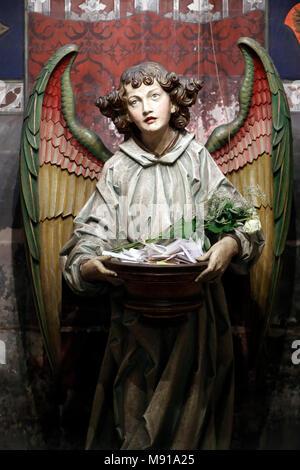 Saint-Pierre-le-Jeune Protestant Church.  The Annuciation. The angel Gabriel Strasbourg. France. - Stock Photo
