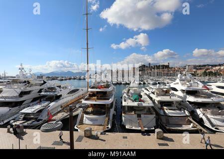 Cannes old harbor, France, Cote d'Azur, Luxury motor yachts, the quay Saint-Pierre - Stock Photo