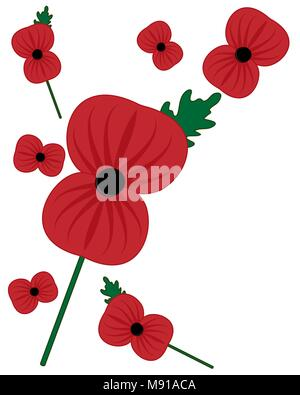 a vector illustration in eps 8 format of bright red remembrance poppy with green leaf and stalk on a white background - Stock Photo