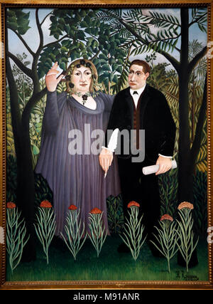 Henri Rousseau (Le Douanier Rousseau), The poet and his muse (Guillaume Apollinaire & Marie Laurencin), paris, 1909, oil on canvas. Shchukin Collectio - Stock Photo