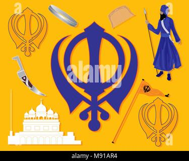 An Illustration Of Elements From Sikh History With Gurdwara Khalsa