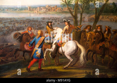 The Crossing of the Rhine by Louis XIV by Van der Meulen. Vaux-le-Vicomte castle. France. - Stock Photo