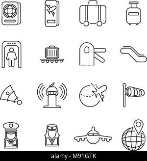 Airport or Airplane Travel Icons Thin Line Vector Illustration Set - Stock Photo
