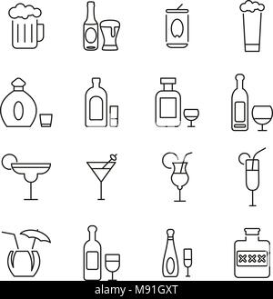 Alcoholic Drinks Icons Thin Line Vector Illustration Set - Stock Photo