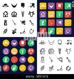 Amish All in One Icons Black & White Color Flat Design Freehand Set - Stock Photo