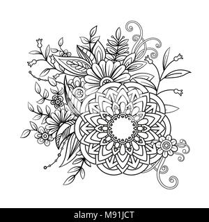 Mandalas For Coloring Book Decorative Black And White Round Outline