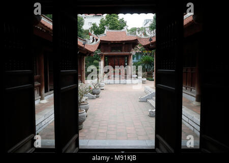 The Temple of Literature is Confucian temple which was formerly a center of learning in Hanoi.   Hanoi. Vietnam. - Stock Photo