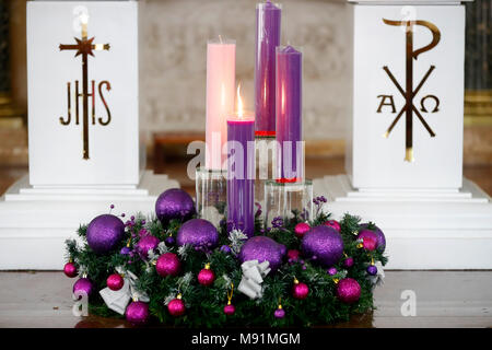 Church of the Sacred Heart of Jesus ( Nha Tho Tan Dinh ).   Advent wreath with candles. Ho Chi Minh City. Vietnam. - Stock Photo