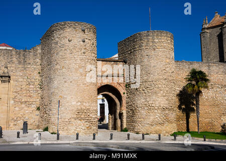 Ronda, Spain. January 19, 2018. View of Almocabar Gate (Puerta de Almocabar) - Stock Photo