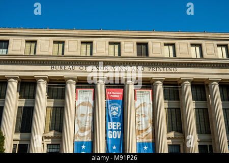 Bureau of Engraving and Printing, US Department of the Treasury , 301 14th Street SW, Washington DC - Stock Photo