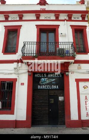 Barcelona headquarters Hells Angels Motorcycle Club - Stock Photo