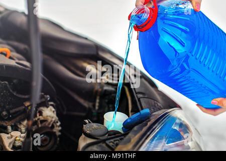 Closeup Blue Windshield Washer Fluid Reservoir Cap In