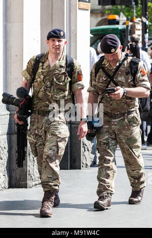 London, UK. 24th May, 2017. Army photographers on duty in Westminster covering enhanced security provisions involving the British Army. - Stock Photo