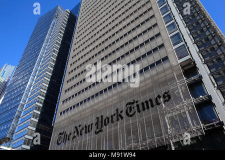 Office building of The New York Times in Manhattan, New York City - Stock Photo